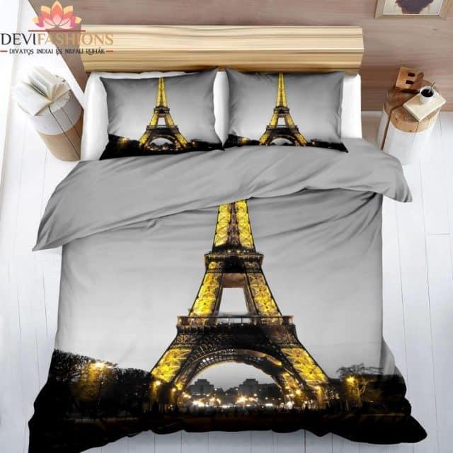 szürke színben fényes Párizs pamut ágynemű