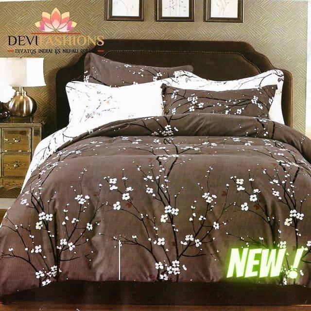 szürke színben virágzó fa pamut ágynemű