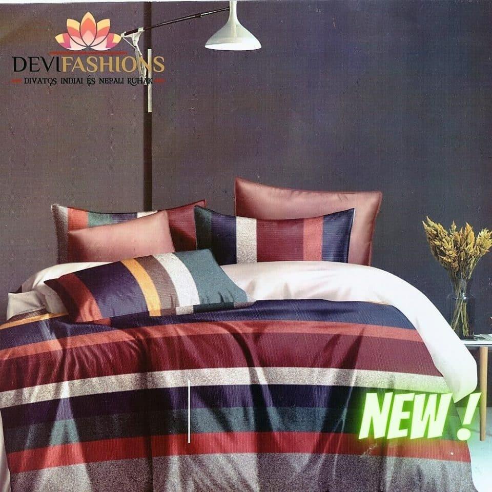 több színes csíkos mintával pamut ágynemű