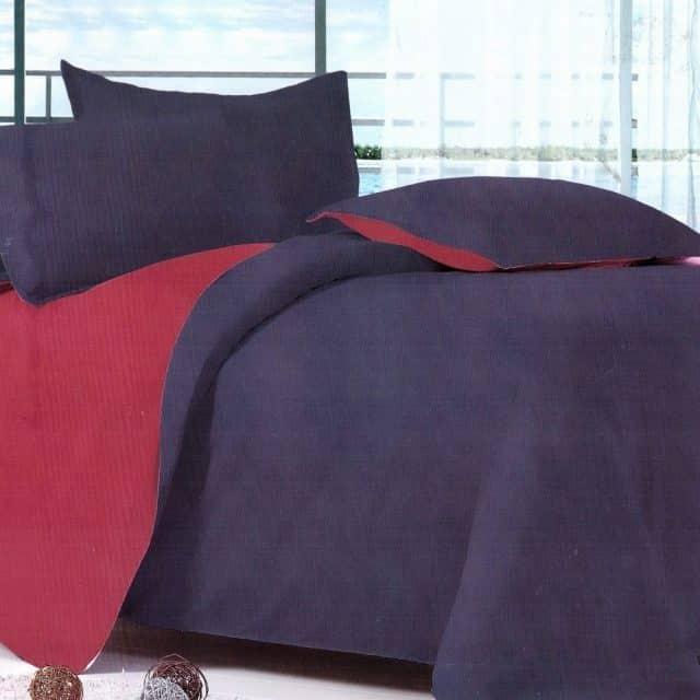 pamut kék és bordó színben ágyneműhuzat