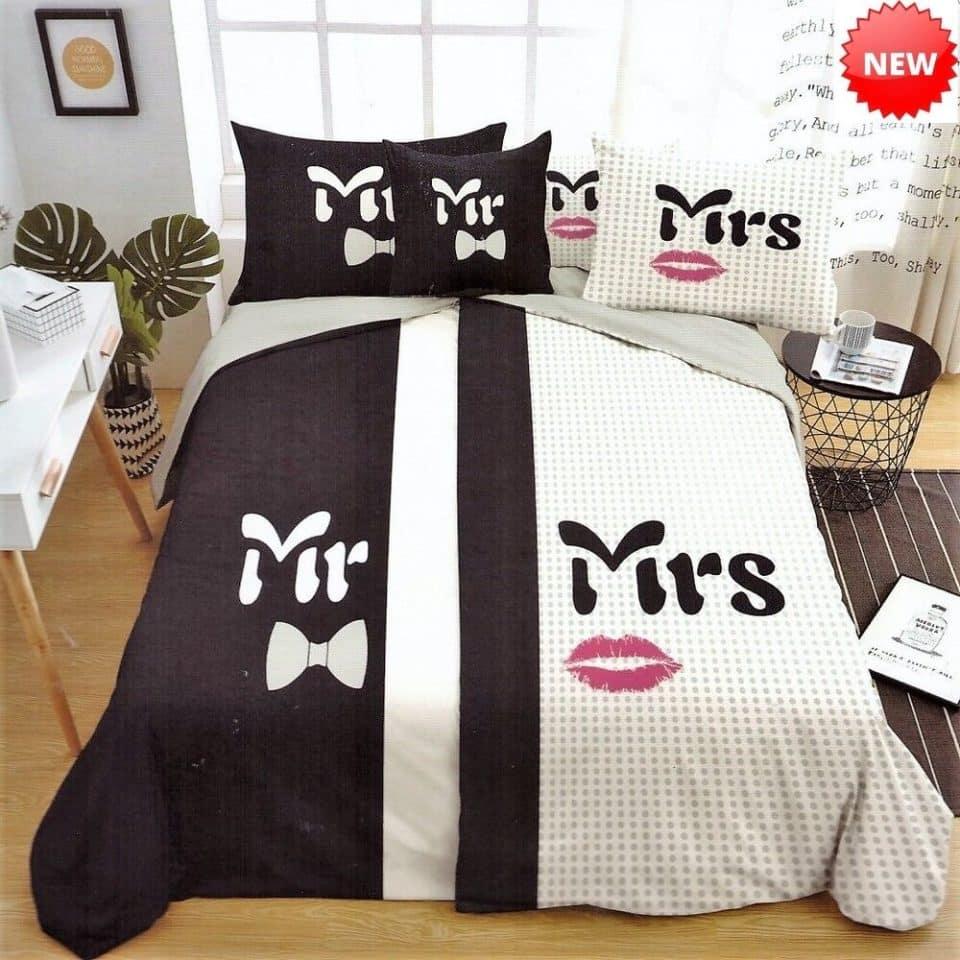 Mr és mrs pároknak pamut ágyneműhuzat