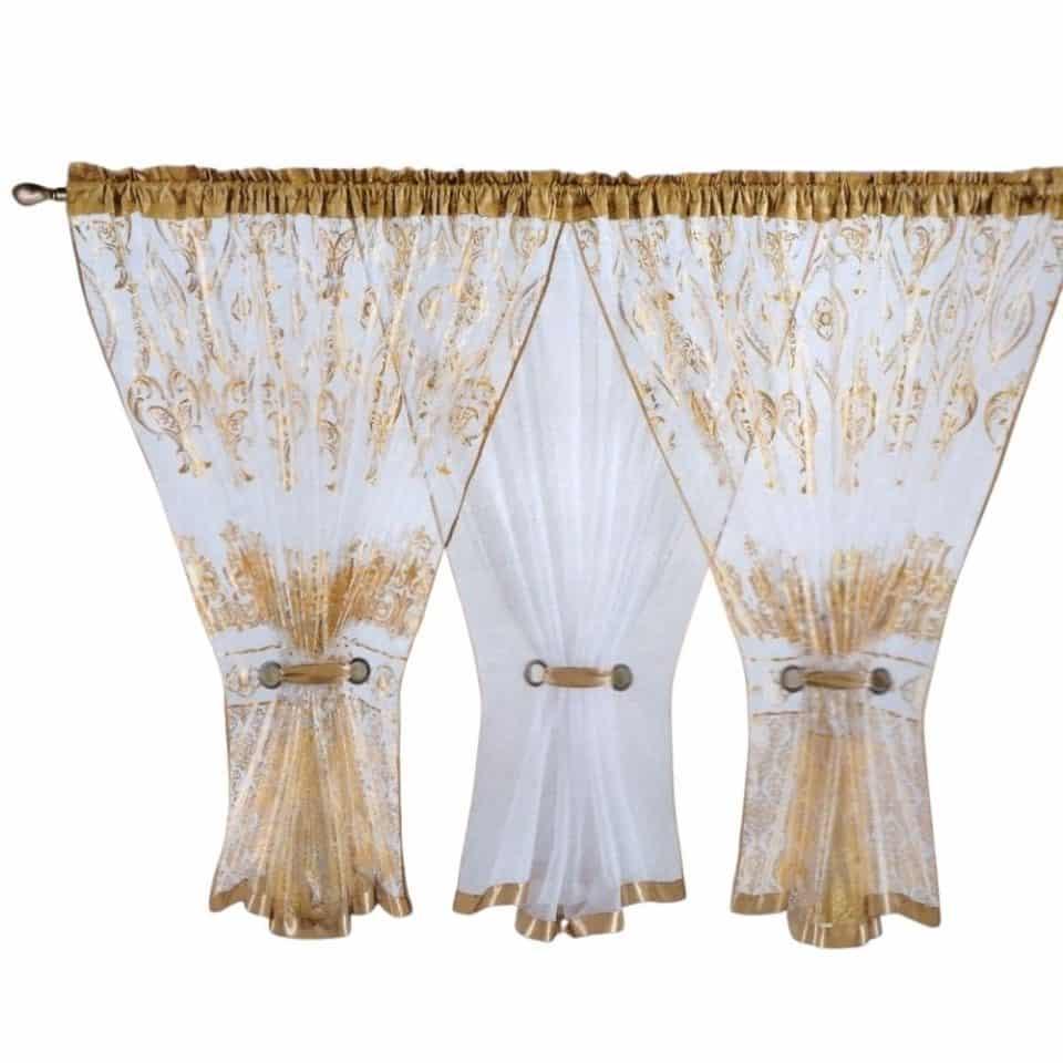 arany és fehér színben megkötős függöny