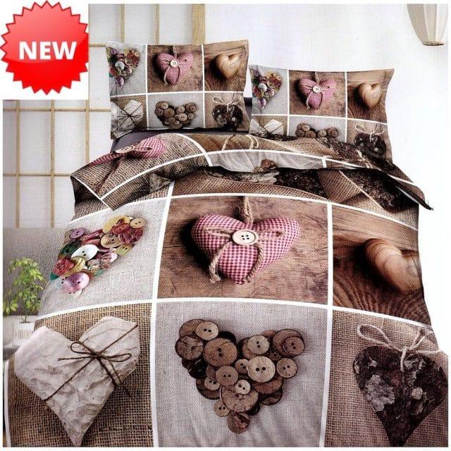 barna színben négyzetek szív pamut ágynemű