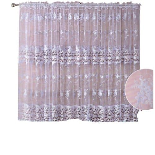 bézs alapon fehér mintás zsakard függöny