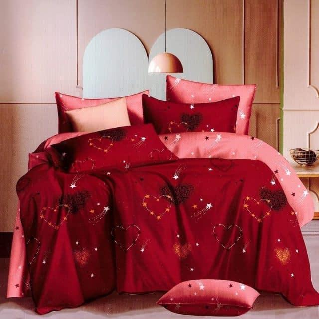 bordó színben piros szív pamut ágynemű