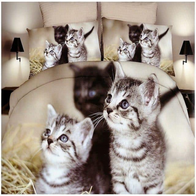 cica minta szürke színben pamut ágynemű