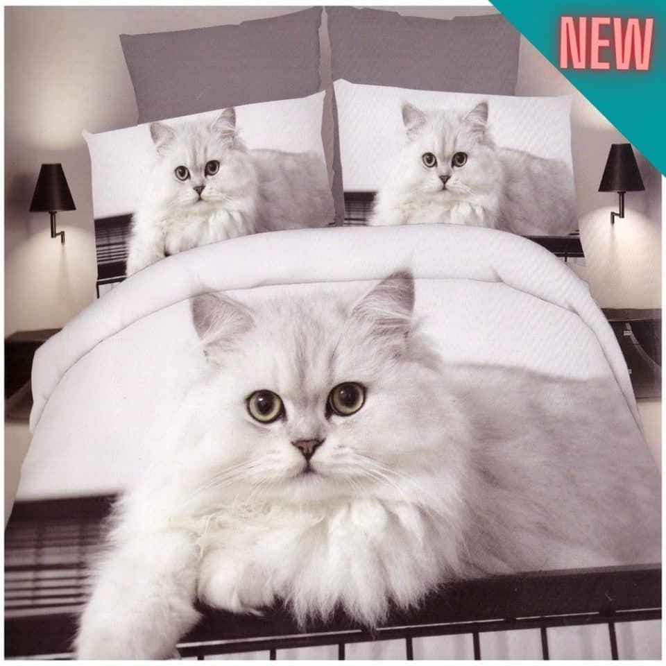 fehér alapon fehér macska mintával