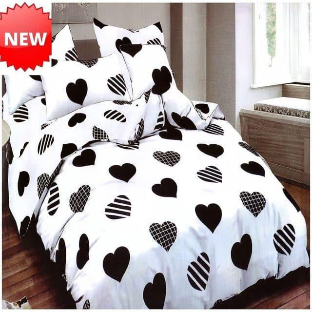 fehér alapon fekete szív pamut ágynemű