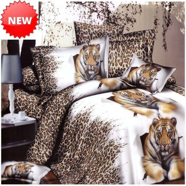 fehér színben tigris mintás pamut ágyneműhuzat