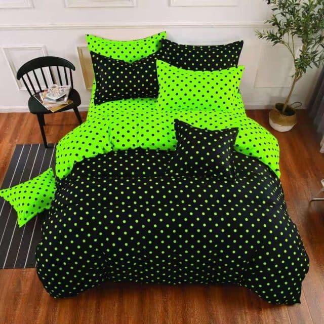 fekete neon zöld pöttyös pamut ágynemű