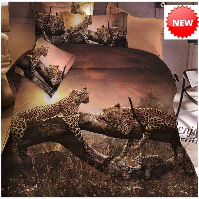 fekvő leopárdok barna színben pamut ágynemű