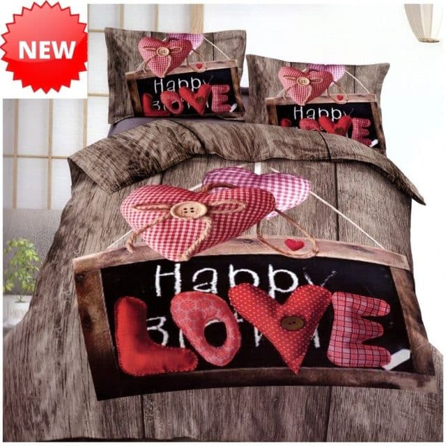 happy love felirat barna pamut ágynemű