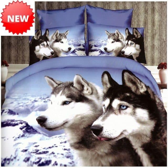 husky kutyusok mintával pamut ágynemű