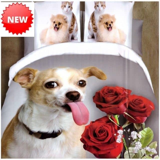 kutyus és rózsa mintás pamut ágynemű