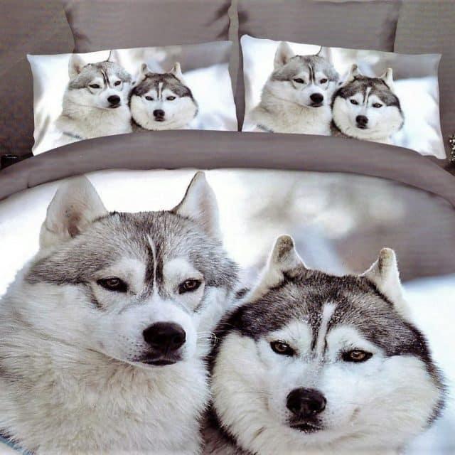 kutyusok havas táj mintával pamut ágynemű
