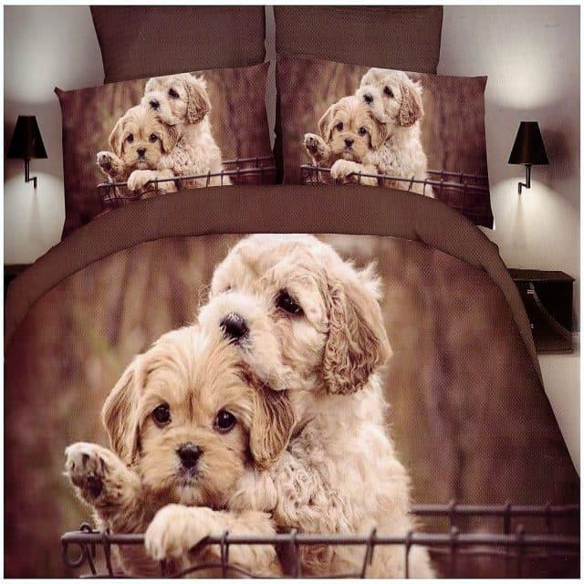 kutyusok minta barna színben pamut ágynemű