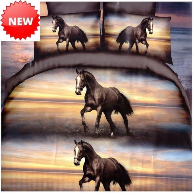 pamut ágynemű barna színben ló mintával