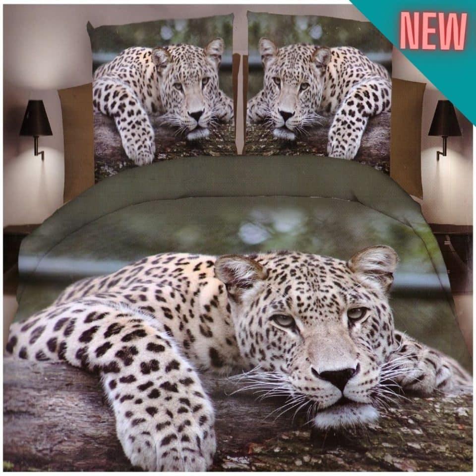 pamut ágynemű fekvő leopárd minta