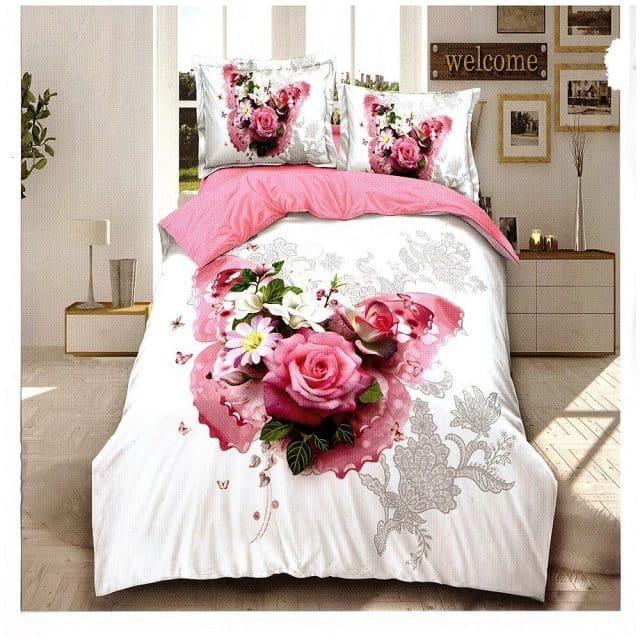 pamut ágynemű rózsaszín fehér virágokkal pillangóval
