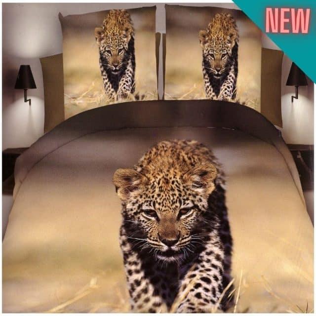 pamut ágynemű sétáló leopárd mintával