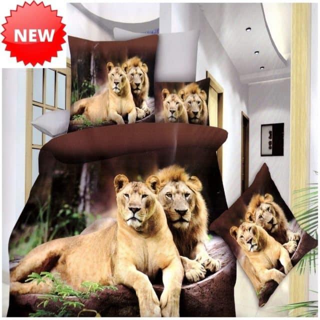 pamut ágyneműhuzat fekvő oroszlánok mintával