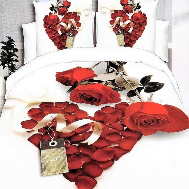 pamut ágyneműhuzat rózsa és szív minta