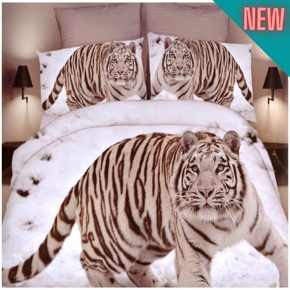 pamut szürke ágyneműhuzat sétáló tigris