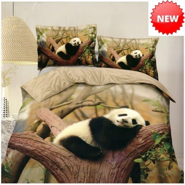 panda mintás pamut ágynemű zöldes árnyalat