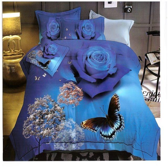 pillangó rózsa kék színben pamut ágynemű