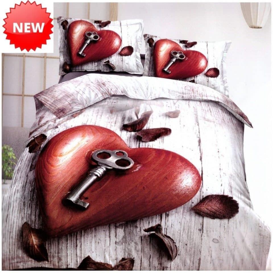 piros szív és kulcs pamut ágynemű