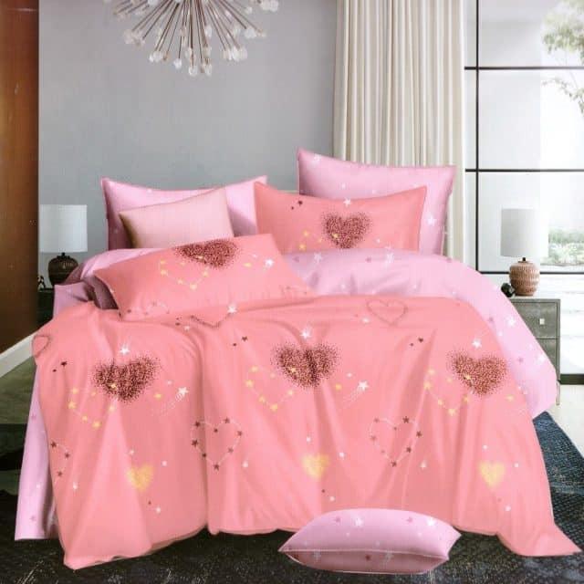 rózsaszín alapon szív mintás pamut ágynemű