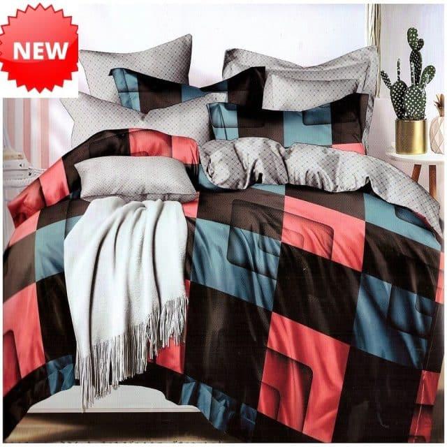 színes négyzet hálós minta pamut ágynemű
