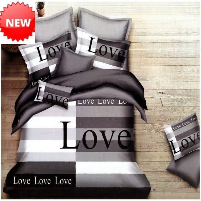 szürke alapon love felirattal pamut ágynemű
