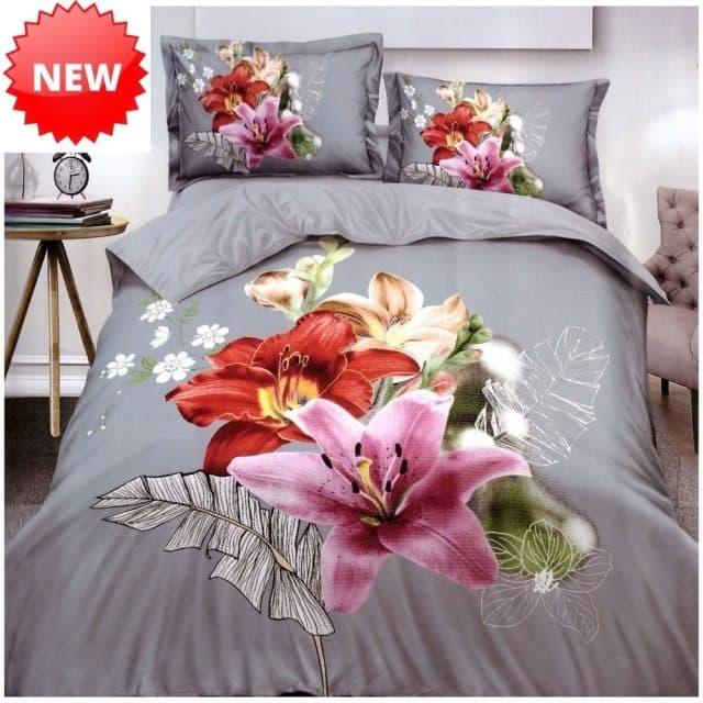 szürke alapon virágokkal pamut ágynemű