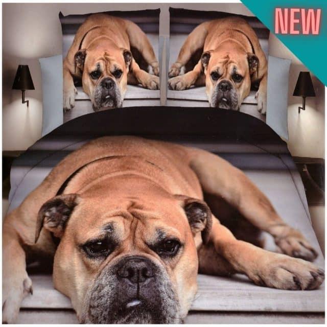 szürke pamut ágynemű fekvő kutyus minta