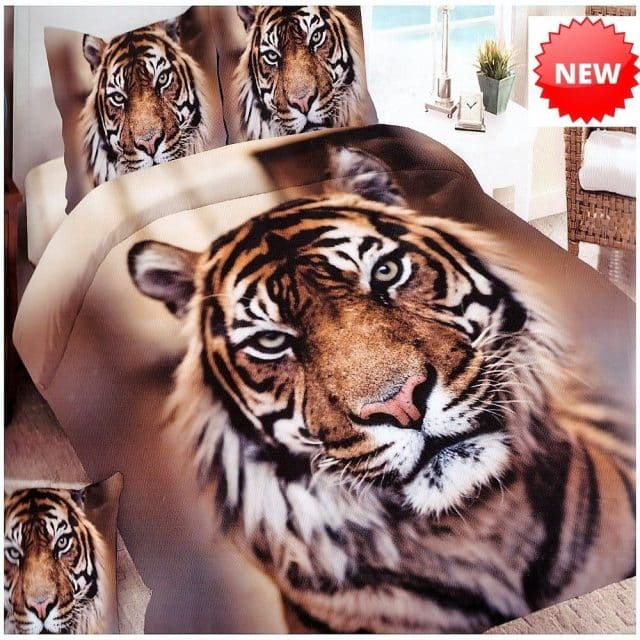tigris mintás pamut ágynemű barna színben