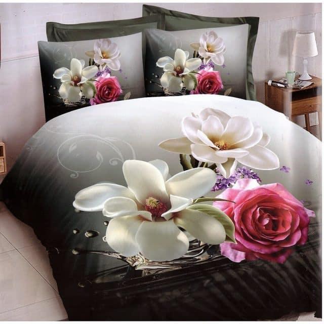 nagy rózsás és virágos pamut ágyneműhuzat