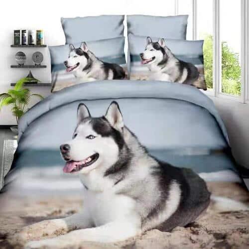 pamut ágynemű husky kutyus fekszik