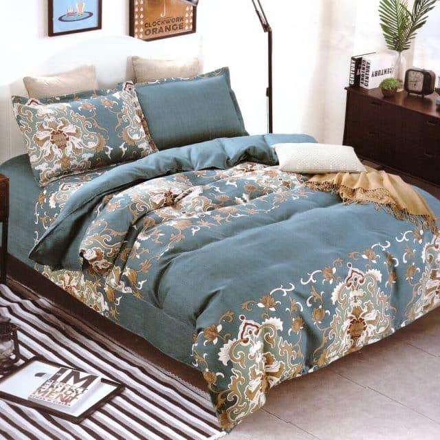 pamut ágynemű kékes zöld klasszikus mintával