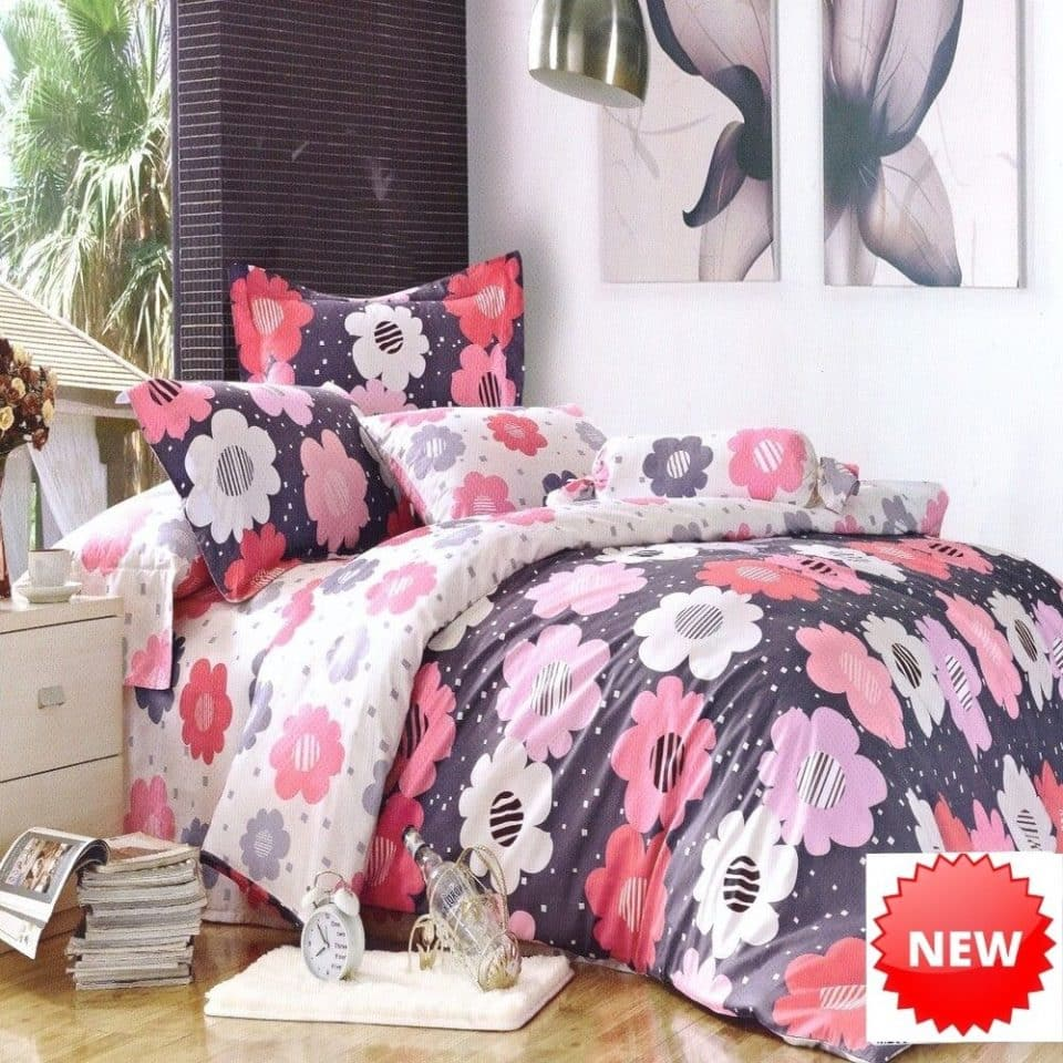 pamut ágynemű színes virágokkal minta