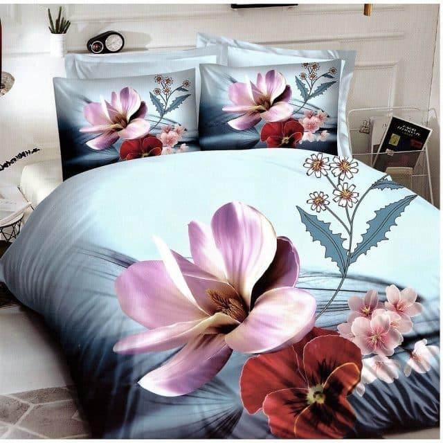 pamut ágynemű szürkés zöld színben virágokkal