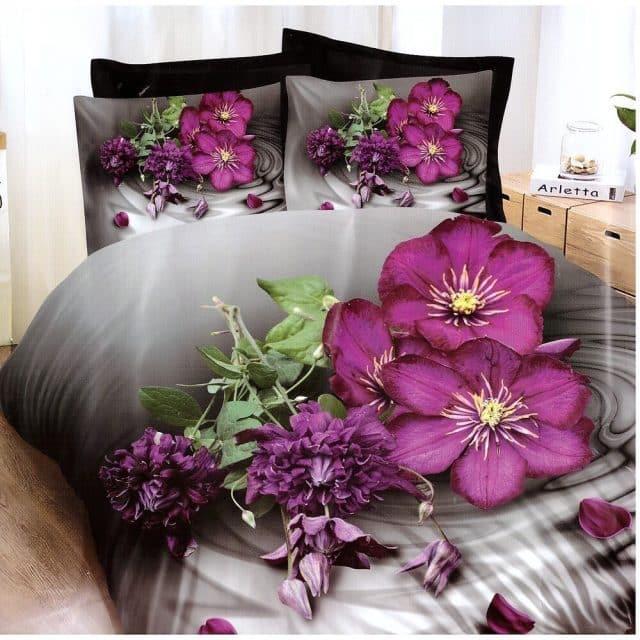 pamut mályva színű virág mintás ágyneműhuzat
