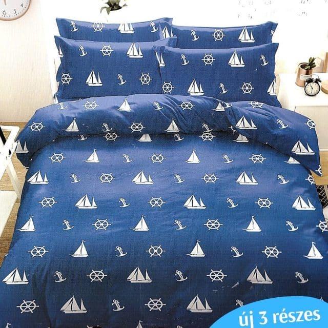 élénk kék alapon fehér hajó minta