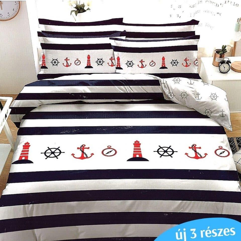 kék fehér matróz mintás ágyneműhuzat