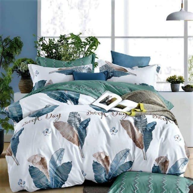 nagy zöld levelek világos pamut ágynemű