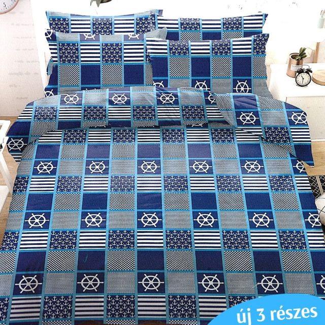 négyzetekben matróz minta kék ágyneműhuzat