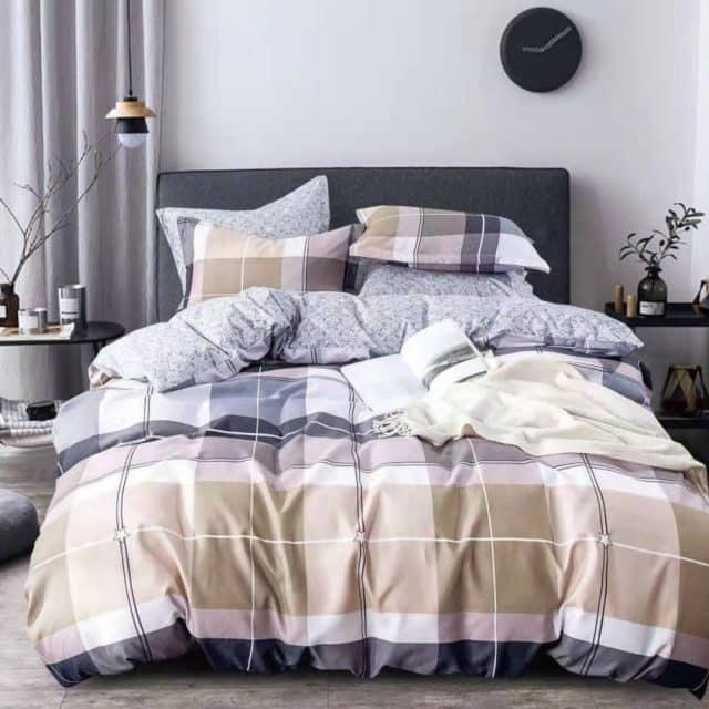 szürke bézs barna négyzetes pamut ágynemű