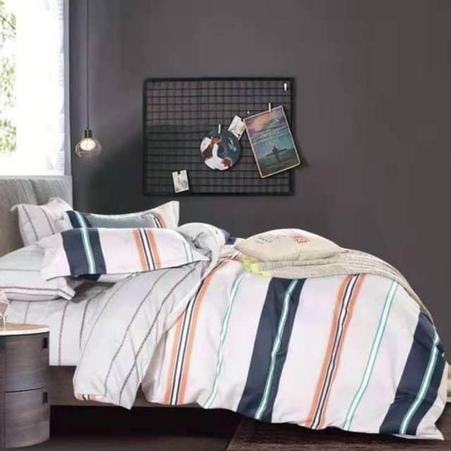 világos alapon színes csíkok pamut ágynemű