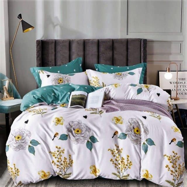 virág minták zöld fehér pamut ágynemű