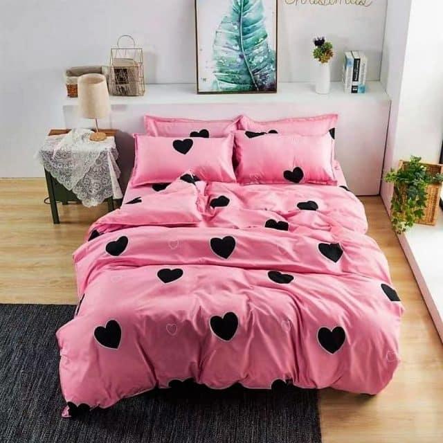 fekete szivecske rózsaszín alapon pamut ágynemű